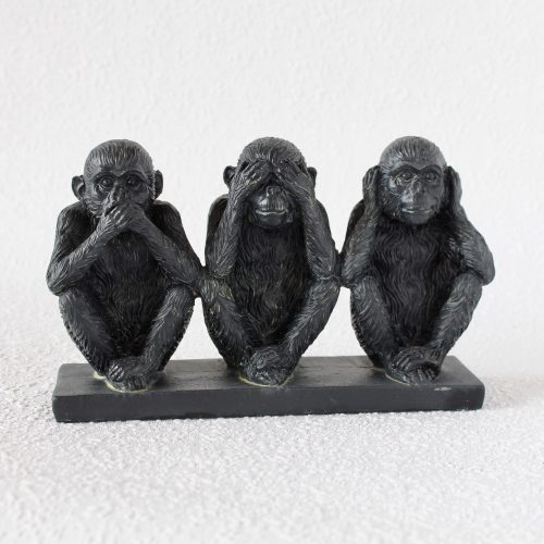 No Evil See Hear Speak Monkey Black Resin Figurine On Base