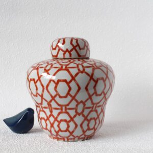 Orange And White Chic Ceramic Temple Ginger Jar Vase