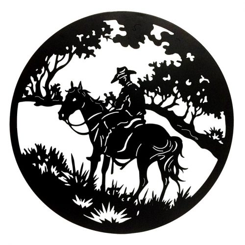 Outback Country Man On Horse Laser Cut Metal Wall Art