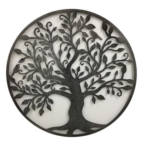 Rustic Black Tree Of Life Birds Metal Wall Art