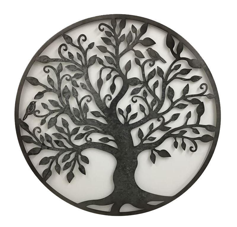 Rustic Black Tree Of Life Birds Metal Wall Art