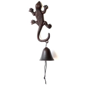 Rustic Brown Cast Iron Gecko Lizard Metal Doorbell