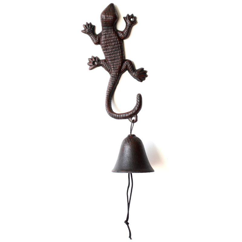 Rustic Brown Cast Iron Gecko Lizard Metal Doorbell