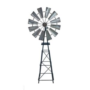 Rustic Galvanised Metal Garden Windmill Ornament