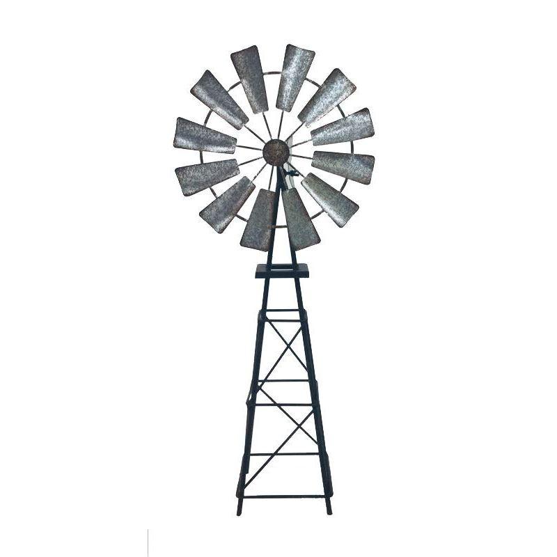 Rustic Galvanised Metal Garden Windmill Ornament