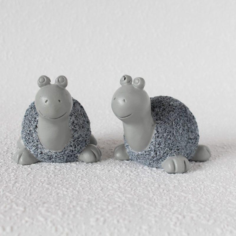 Set Of 2 Blue And Grey Resin Sea Turtle Figurine