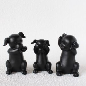 Set Of 3 Black No Evil See Hear Speak Dog Puppy Resin Figurine