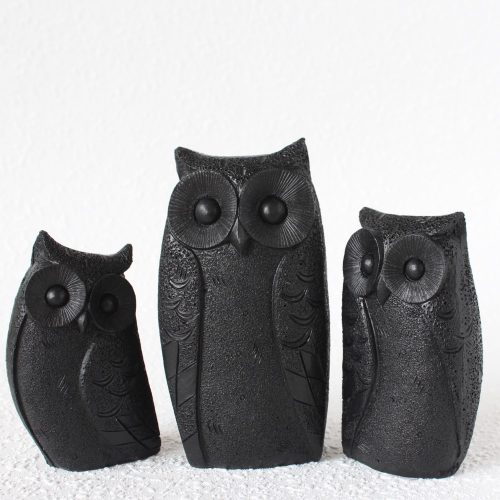 Set Of 3 Black Owl Bird Resin Figurine
