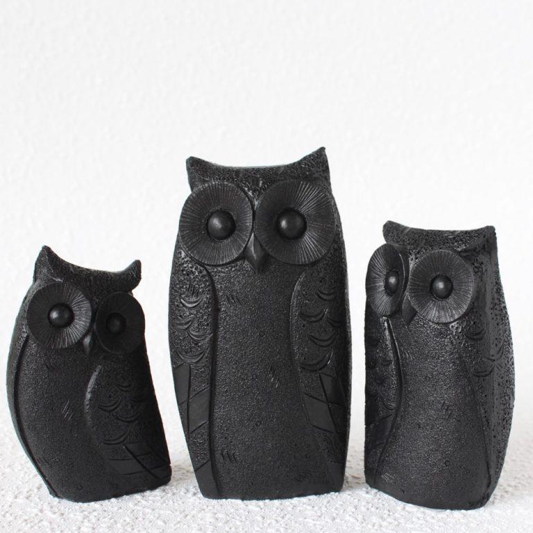 Set Of 3 Black Owl Bird Resin Figurine