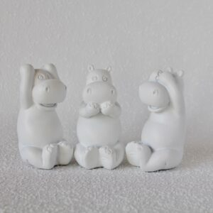 Set Of 3 Coastal White No Evil Hippo Animal Resin Figurine