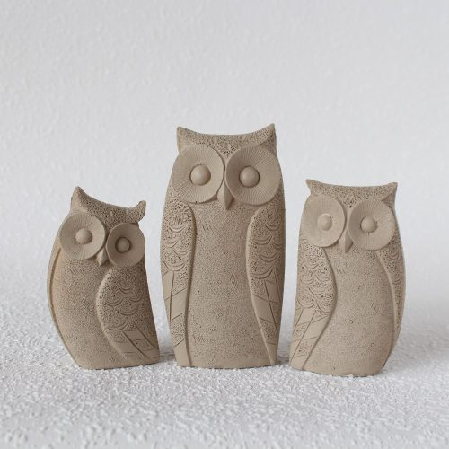 Set Of 3 Taupe Owl Bird Resin Figurine