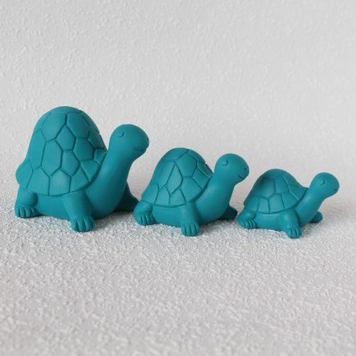 Set Of 3 Turquoise Blue Sea Turtle Resin Figurine