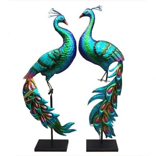 Set of 2 Blue Peacock Bird Metal Figurine On Stand