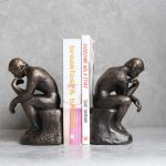 Set of 2 Cast Iron Thinking Men Statue Bookends
