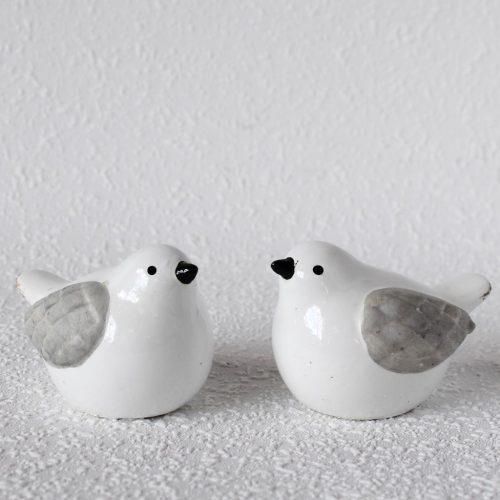 Set of 2 Grey White Ceramic Bird Figurine