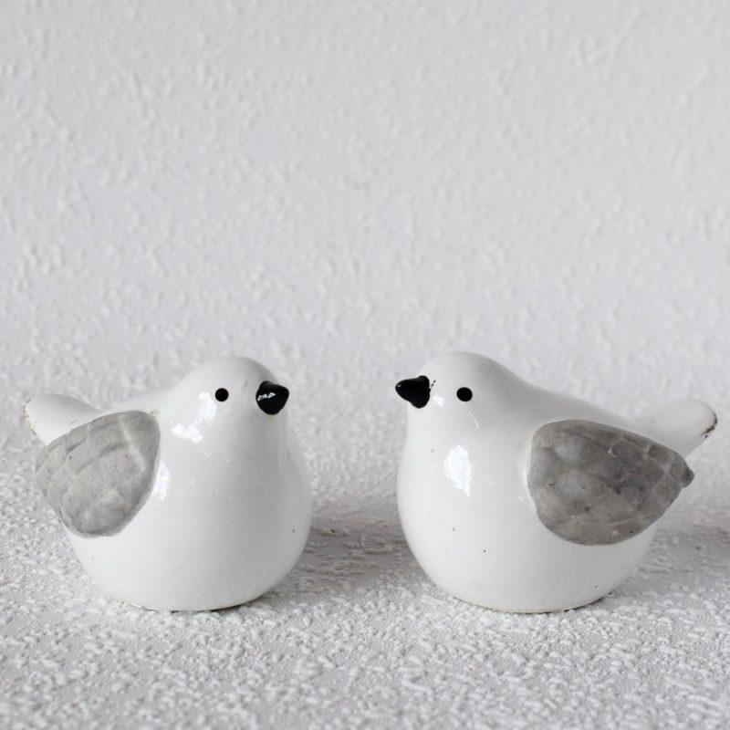 Set of 2 Grey White Ceramic Bird Figurine