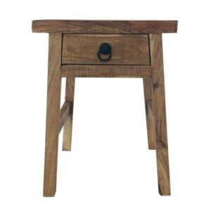 Solid Acacia Wood Industrial Nightstand Drawer Bedside Table