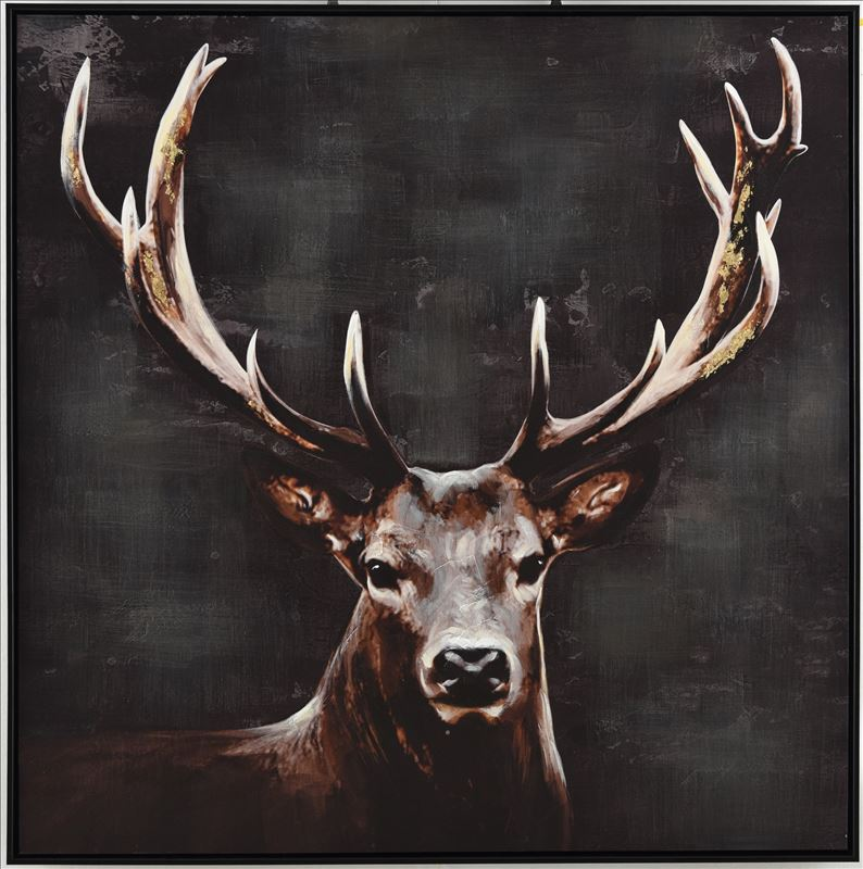 Standing Stag Moose Deer Canvas Wall Art
