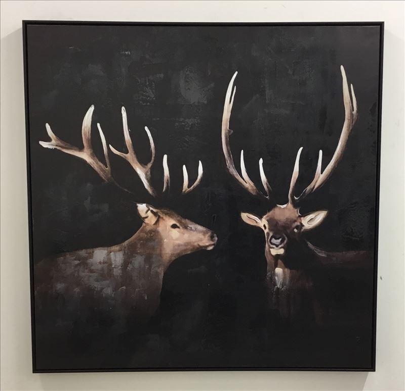 Standing Stag Moose Deer Duo Canvas Wall Art