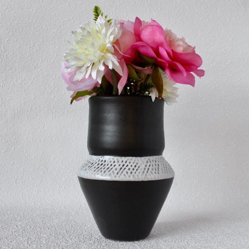 Tall Black And White Tribal Eliza Ceramic Vase