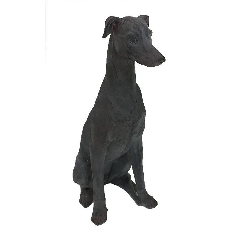 Tall Black Sitting Dog Resin Statue Figurine