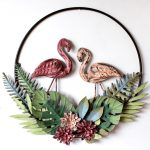Tropical Pink Flamingo Leaves Round Metal Wall Art