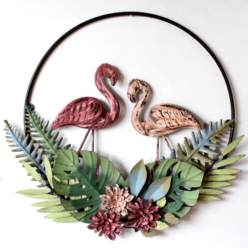 Tropical Pink Flamingo Leaves Round Metal Wall Art