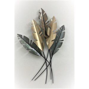 Tropical Shiny Bridgette Leaves Metal Wall Art