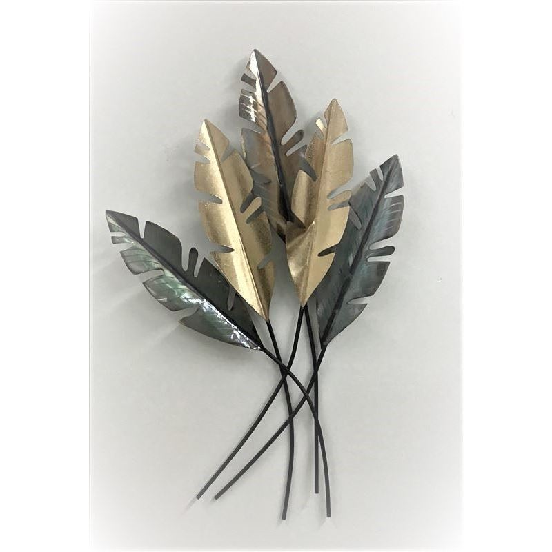 Tropical Shiny Bridgette Leaves Metal Wall Art