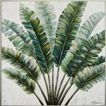 Tropical Tree Leaves Framed Canvas Print Wall Art
