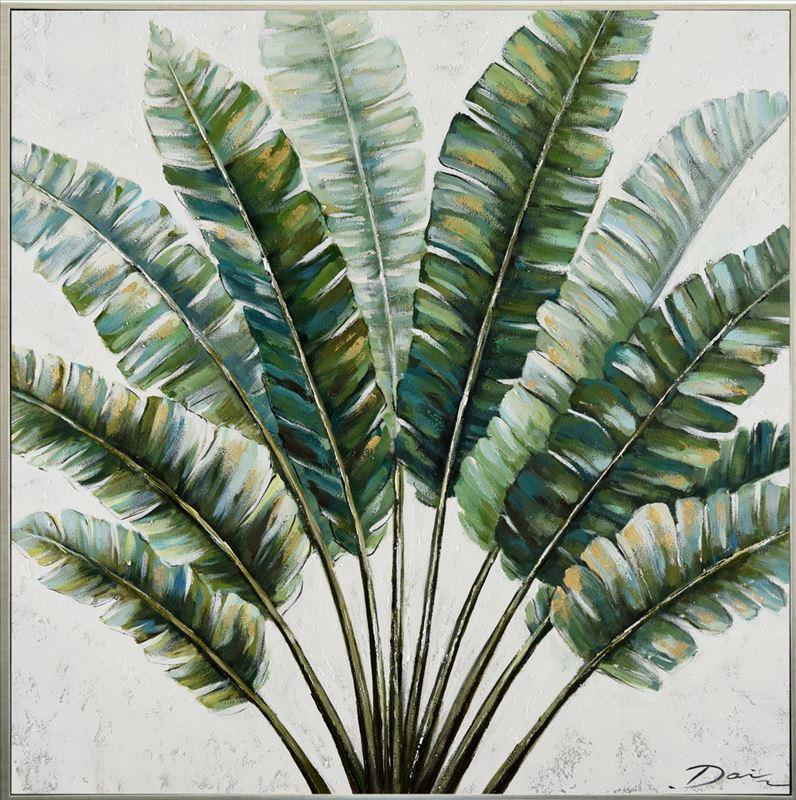 Tropical Tree Leaves Framed Canvas Print Wall Art