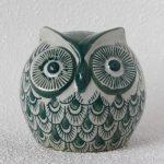 Urban White Green Ceramic Owl Statue Figurine