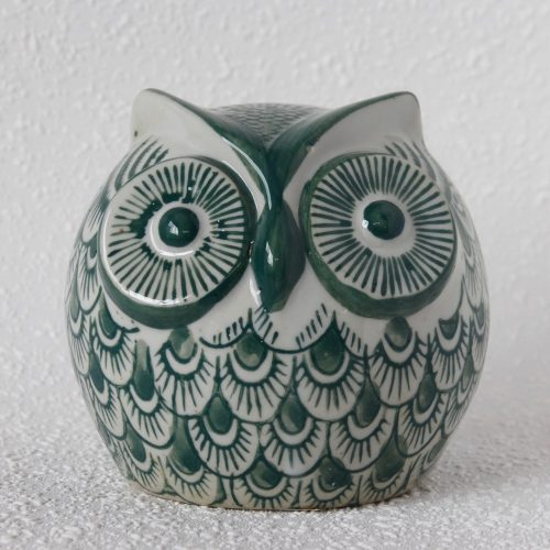 Urban White Green Ceramic Owl Statue Figurine