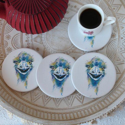 Vibrant Australian Emu Animal Ceramic Coasters - Set of 4
