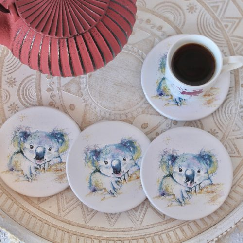 Vibrant Koala White Ceramic Coasters - Set of 4