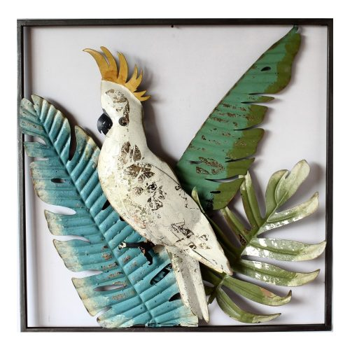Vibrant Tropical Cockatoo Framed Metal Wall Art