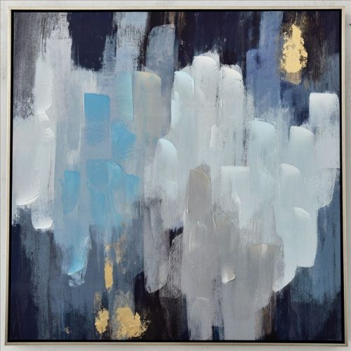 White Blue Abstract Strokes Amy Framed Canvas Print Wall Art