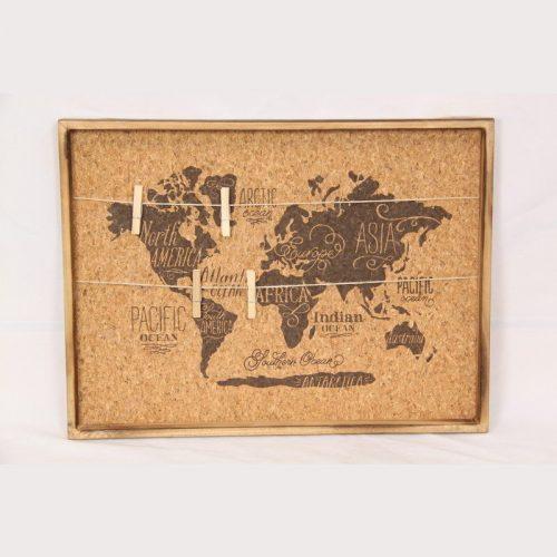 World Map Photo Hanging Cork Peg Board