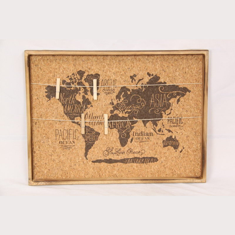 World Map Photo Hanging Cork Peg Board