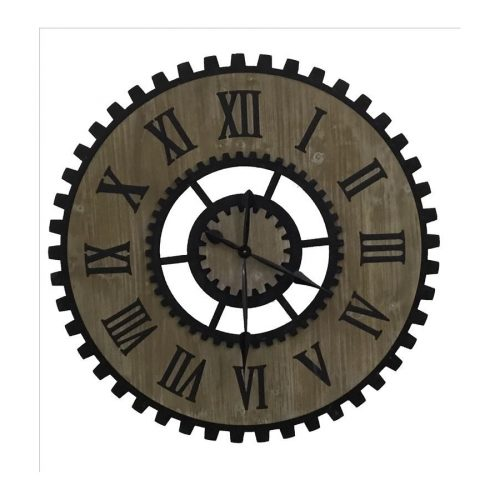 X Large Industrial Style Metal Timber Wall Clock