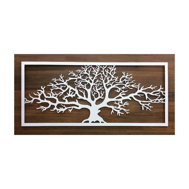 X Large White Framed Winter Tree Of Life Metal Wall Art