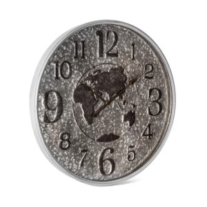 X Large World Map Galvanised Metal Glass Wall Clock