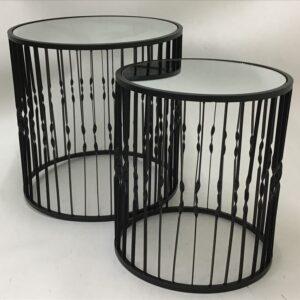 2 Piece Nesting Black Glass Metal Side Coffee Tables