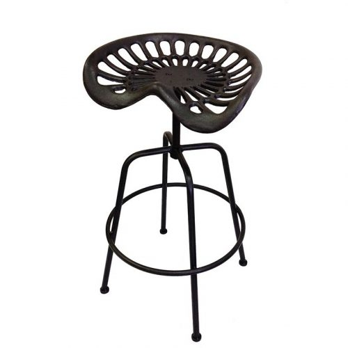 2 Pieces Industrial Black Cast Iron Tractor Seat Bar Stools
