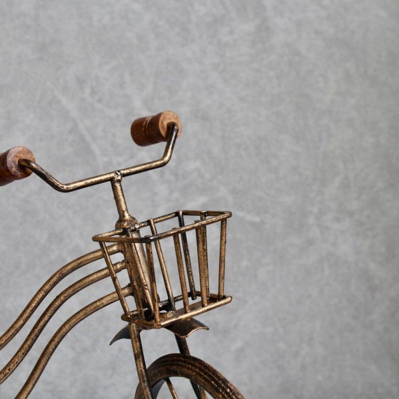 Antique Gold Vintage Bike Bicycle Ornament With Basket