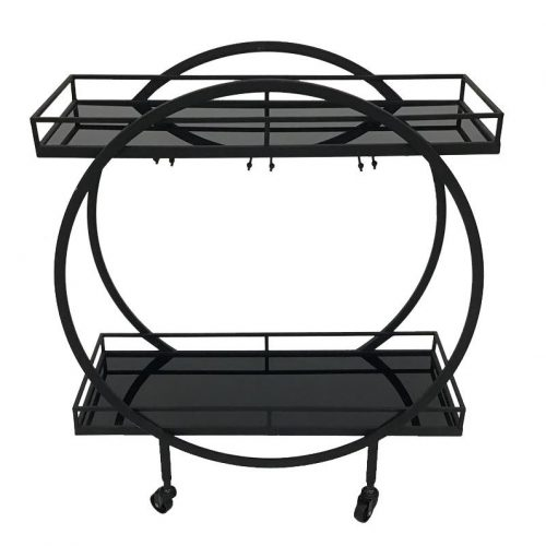 Black Metal Bar Cart Drinks Auto Trolley With Wine Glass Shelves