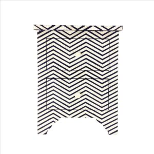 Black White Chevron Inlay Nightstand 2 Drawer Bedside Table
