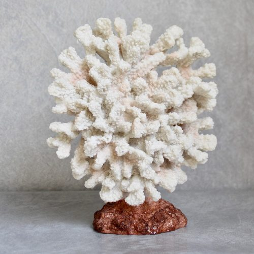 Coastal White Faux Coral Resin Decorative Ornament