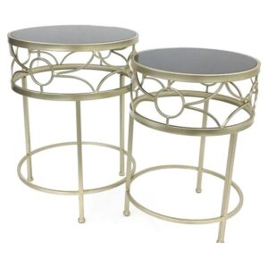 2 Piece Nesting Champagne Glass Metal Side Coffee Tables