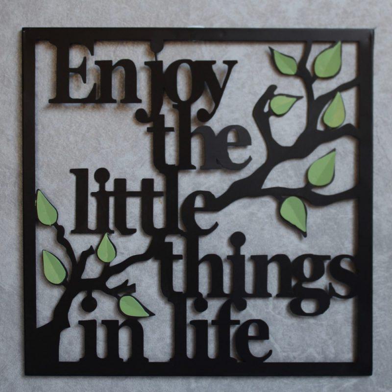 Enjoy Little Things Black Laser Cut Leaves Metal Wall Art